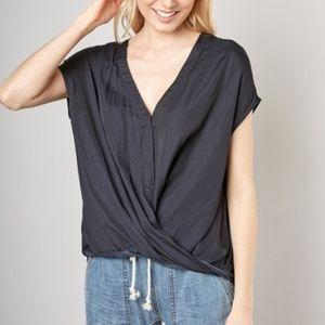 Black Silk-Like Draped Top